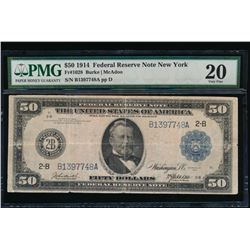 1914 $50 New York Federal Reserve Note PMG 20