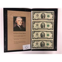 UNCUT SHEET OF 4  USA TWO DOLLAR BILLS INCLUDES CERTIFICATE OF OWNERSHIP AND LEATHER CASE