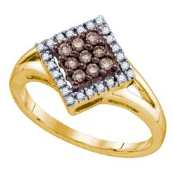 0.25 CTW Cognac-brown Color Diamond Square Cluster Ring 10KT Yellow Gold - REF-18H2M