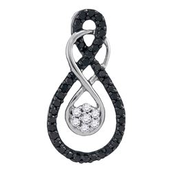 0.26 CTW Black Color Diamond Double Infinity Cluster Pendant 10KT White Gold - REF-13Y4X
