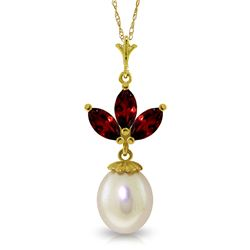 Genuine 4.75 ctw Garnet & Pearl Necklace Jewelry 14KT Yellow Gold - REF-24W3Y