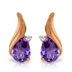 Genuine 3.16 ctw Amethyst & Diamond Earrings Jewelry 14KT Rose Gold - REF-52Z4N
