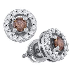 0.70 CTW Cognac-brown Color Diamond Screwback Stud Earrings 10KT White Gold - REF-41H9M