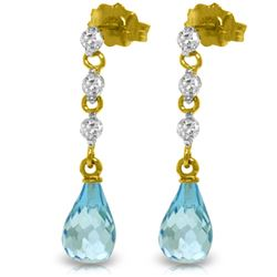 Genuine 3.3 ctw Blue Topaz & Diamond Earrings Jewelry 14KT Yellow Gold - REF-42P9H