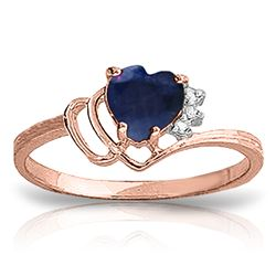 Genuine 1.02 ctw Sapphire & Diamond Ring Jewelry 14KT Rose Gold - REF-35Y5F