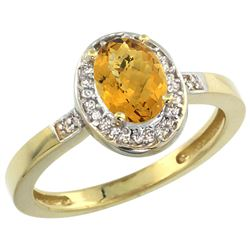 Natural 1.08 ctw Whisky-quartz & Diamond Engagement Ring 14K Yellow Gold - REF-30N9G