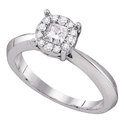 0.51 CTW Princess Diamond Cluster Bridal Engagement Ring 14KT White Gold - REF-101W9K