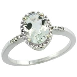 Natural 1.2 ctw Green-amethyst & Diamond Engagement Ring 10K White Gold - REF-16R9Z