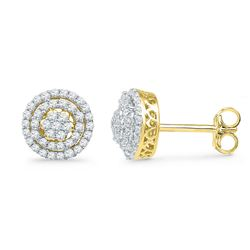 0.50 CTW Diamond Cluster Screwback Earrings 10KT Yellow Gold - REF-37Y5X