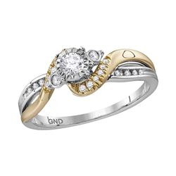 0.26 CTW Diamond Solitaire Bridal Engagement Ring 14KT Two-tone Gold - REF-44Y9X