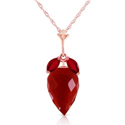 Genuine 13.5 ctw Ruby Necklace Jewelry 14KT Rose Gold - REF-34N3R