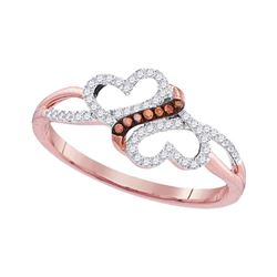0.15 CTW Red Color Diamond Double Heart Love Ring 10KT Rose Gold - REF-18N2F