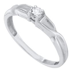 0.10 CTW Diamond Solitaire Bridal Ring 10KT White Gold - REF-16K4W