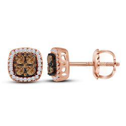 0.50 CTW Cognac-brown Color Diamond Square Cluster Earrings 10KT Rose Gold - REF-44F9N