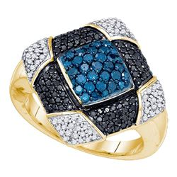 0.95 CTW Blue Black Color Diamond Square Cluster Ring 10KT Yellow Gold - REF-75W2K