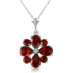 Genuine 2.43 ctw Garnet Necklace Jewelry 14KT White Gold - REF-29Z7N