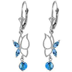 Genuine 0.80 ctw Blue Topaz Earrings Jewelry 14KT White Gold - REF-38P2H