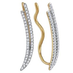 0.25 CTW Diamond Double Two Row Climber Earrings 10KT Yellow Gold - REF-22K4W