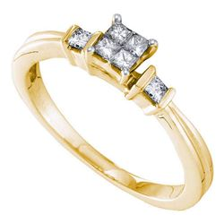 0.25 CTW Princess Diamond Cluster Bridal Engagement Ring 14KT Yellow Gold - REF-40Y4X