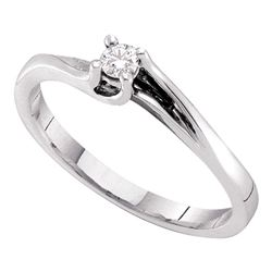 0.09 CTW Diamond Solitaire Bridal Ring 14KT White Gold - REF-19N4F