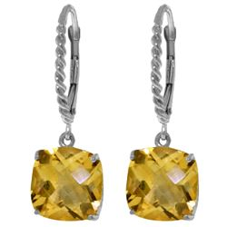 Genuine 7.2 ctw Citrine Earrings Jewelry 14KT White Gold - REF-48Y3F