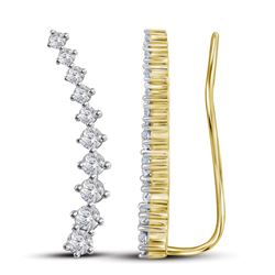 0.75 CTW Diamond Climber Earrings 14KT Yellow Gold - REF-52M4H