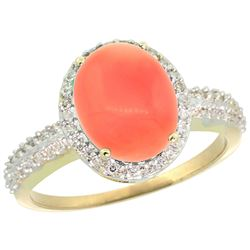 Natural 2.56 ctw Coral & Diamond Engagement Ring 10K Yellow Gold - REF-30H8W