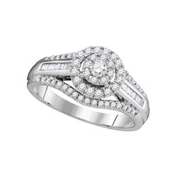 0.50 CTW Diamond Solitaire Halo Bridal Engagement Ring 10KT White Gold - REF-59K9W