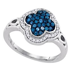 0.46 CTW Blue Color Diamond Cluster Ring 10KT White Gold - REF-41X9Y