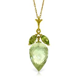 Genuine 10 ctw Green Amethyst & Peridot Necklace Jewelry 14KT Yellow Gold - REF-28Y9F