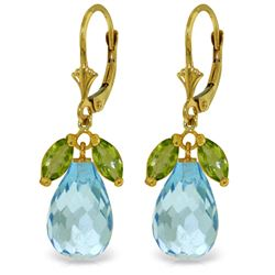 Genuine 14.4 ctw Blue Topaz & Peridot Earrings Jewelry 14KT Yellow Gold - REF-46R7P