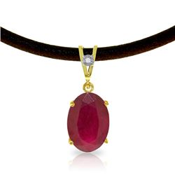 Genuine 7.71 ctw Ruby & Diamond Necklace Jewelry 14KT Yellow Gold - REF-84P2H