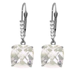 Genuine 7.35 ctw White Topaz & Diamond Earrings Jewelry 14KT White Gold - REF-57Z3N