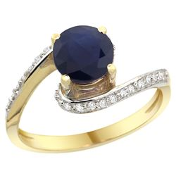 Natural 1.29 ctw blue-sapphire & Diamond Engagement Ring 10K Yellow Gold - REF-83X3A