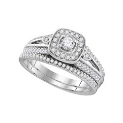 0.50 CTW Diamond Halo Bridal Engagement Ring 10KT White Gold - REF-67M4H