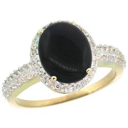 Natural 2.56 ctw Onyx & Diamond Engagement Ring 10K Yellow Gold - REF-30K5R