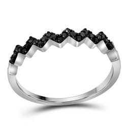 0.12 CTW Black Color Diamond Chevron Ring 10KT White Gold - REF-10W5K
