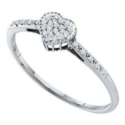 0.07 CTW Diamond Dainty Heart Ring 10KT White Gold - REF-8H9M