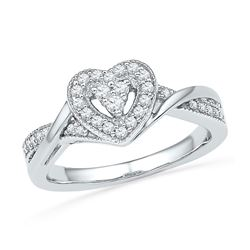 0.25 CTW Diamond Heart Love Ring 10KT White Gold - REF-25M4H