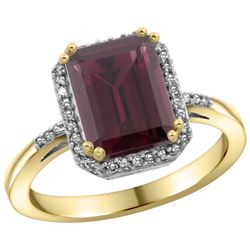 Natural 2.63 ctw Rhodolite & Diamond Engagement Ring 14K Yellow Gold - REF-42G8M