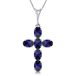 Genuine 1.50 ctw Sapphire Necklace Jewelry 14KT White Gold - REF-36Y5F
