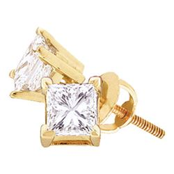 0.20 CTW Princess Diamond Solitaire Stud Earrings 14KT Yellow Gold - REF-19M4H