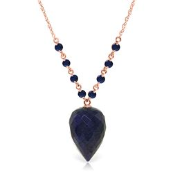 Genuine 14 ctw Sapphire Necklace Jewelry 14KT Rose Gold - REF-42M2T