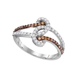 0.50 CTW Brown Color Diamond Strand Ring 10KT White Gold - REF-30X2Y