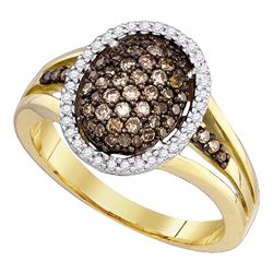 0.50 CTW Cognac-brown Color Diamond Oval Cluster Ring 10KT Yellow Gold - REF-37N5F