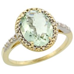 Natural 2.42 ctw Green-amethyst & Diamond Engagement Ring 10K Yellow Gold - REF-25F5N