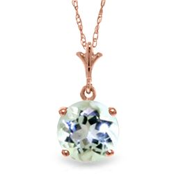 Genuine 1.15 ctw Aquamarine Necklace Jewelry 14KT Rose Gold - REF-22F8Z