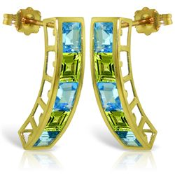 Genuine 4.5 ctw Blue Topaz & Peridot Earrings Jewelry 14KT Yellow Gold - REF-38Y5F