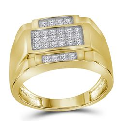 0.49 CTW Mens Diamond Square Cluster Ring 10KT Yellow Gold - REF-52N4F