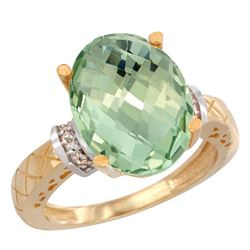 Natural 5.53 ctw Green-amethyst & Diamond Engagement Ring 10K Yellow Gold - REF-44X6A
